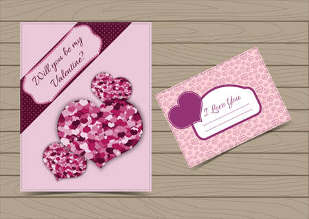 Collection Pink Valentine Card and Postcard Templates with Hearts for a Saint Valentines Day.  Set Vector illustration Can be Used for Love Letter Design, Invitation, etc. Wooden Background.