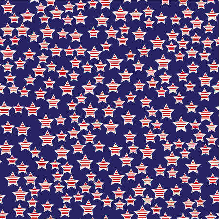president day: Abstract American President Day Seamless Pattern with Stars coloured as Flag . Vector Illustration for Celebration Holiday Design. Illustration
