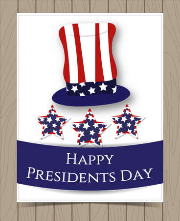president day: American President Day Card Design with Hat colored as Flag and Stars on Wooden Background. Vector Illustration for Celebration Holiday Design. Template for Postcard, Brochure, Banner, etc. Illustration