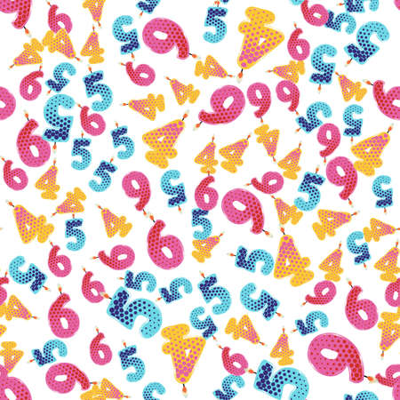 burning paper: Seamless Pattern Colorful Birthday Candles. Numbers Four, Five, Six. Vector Illustration Design for Children Party, Baby Shower, Wedding. Backdrop for Wallpapers, Wrapping