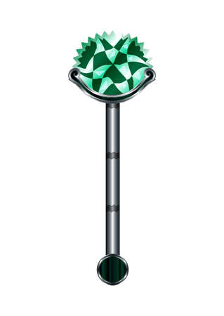 Wand Cartoon Medieval Weapon Isolated on White Background Element. Vector Illustration Sceptre Icon Can be used for RPG, Web, Mobile App, Infographics. Game asset.