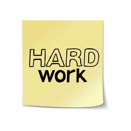 note paper: Hard Work - Hand Drawn Lettering on Sticky Note Template. Vector Illustration Quote. Handwritten Inscription Phrase for Office, Presentation, T-shirt Print, Poster, Cover, Case Design. Illustration