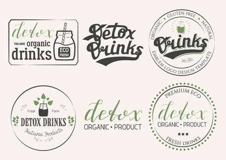 Sammlung Von Sechs Detox Getränke Naturprodukte Logo. Satz Von Eco ...
