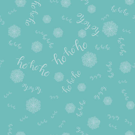 Ho-ho-ho Seamless Hand Drawn Pattern with Snowlakes and Lettering Blue. Vector Illustration. Handwritten Inscription Backdrop for  New Year Holiday Design, Sale, Banner, Invitation. Stock Photo