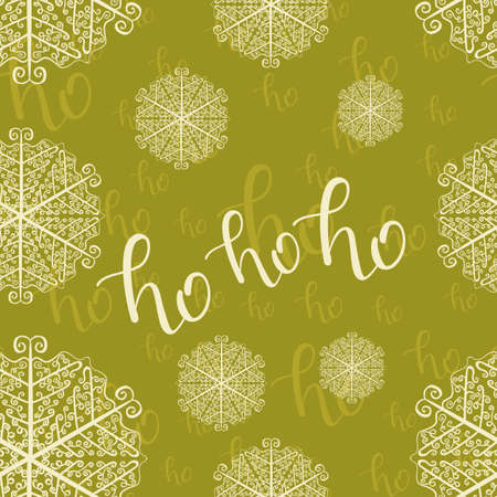 Ho-ho-ho Seamless Hand Drawn Pattern with Snowlakes and Lettering on Green Background. Vector Illustration. Handwritten Inscription Backdrop for  New Year Holiday Design, Sale, Banner, Invitation.
