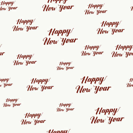 Happy New Year Seamless Hand Drawn Pattern with Lettering . Red Vector Illustration on White Background. Handwritten Inscription Backdrop for NY, Christmas Holiday Design, Sale, Banner, Invitation.
