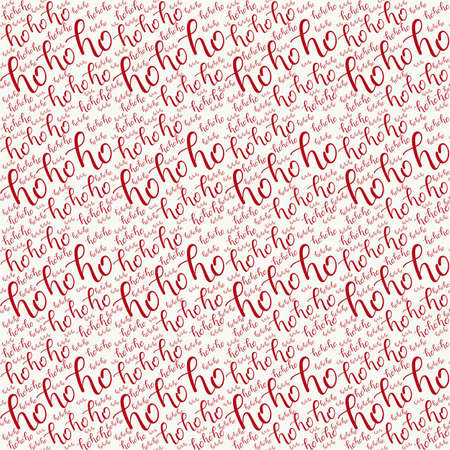 Ho-ho-ho Seamless Hand Drawn Pattern with Lettering. Red Ho Vector Illustration on White. Handwritten Inscription Backdrop for New Year, Christmas Holiday Design, Sale, Banner, Invitation. Stock Photo