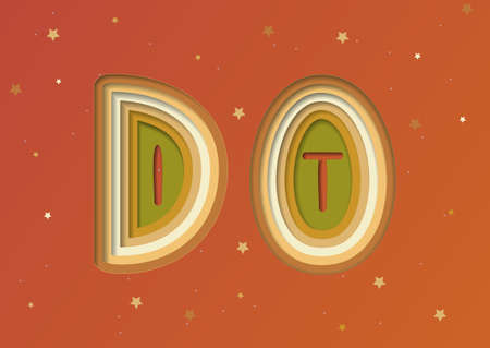 Do It -  Motivation Lettering Design of Paper Cut Colorful Layers  carving on Orange Background with Star. Vector Illustration Quote for  T-shirt Print, Poster, Case Design, Sale, Banner, Invitation.