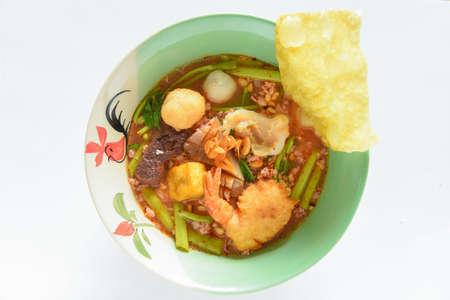 Pink noodle soup
