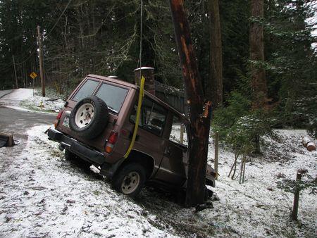 poll: Car smashed into split powerline pole