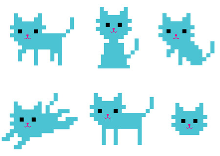 pixel art: pixel cat sit and walk