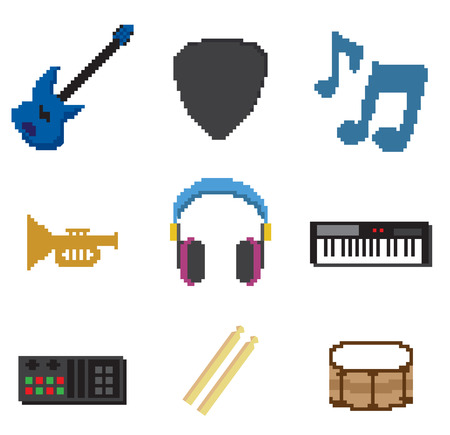 music instrument pixel Vector