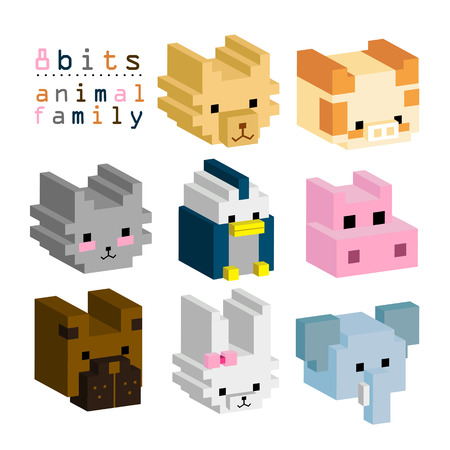 8BITs animal family 02 Vector