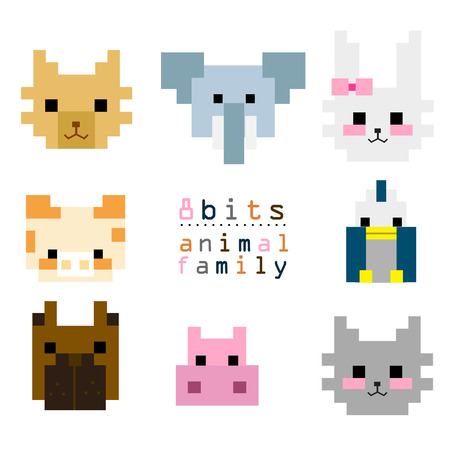 8BITs animal family 01 Vector