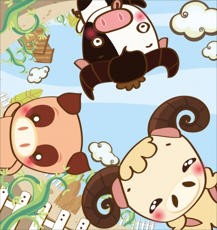cow pig sheep in happy farm cartoon Vector