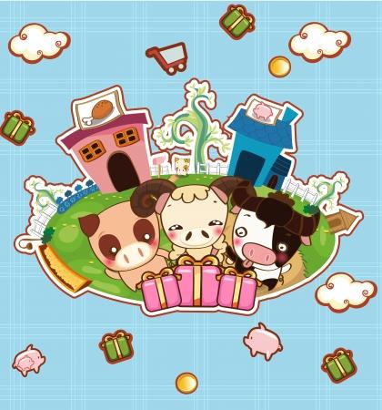 sheep barn: cow pig sheep in happy farm cartoon Illustration