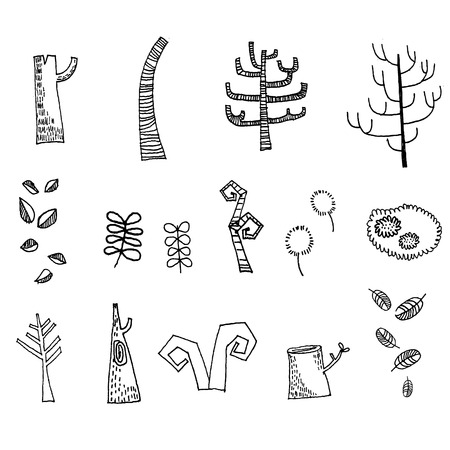 dry land: Dead trees drawing Vector Illustration