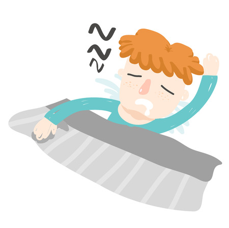 drool: orange hair boy sleep turn face up Illustration