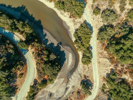 An aerial shot of a branch of the Lexington Reservoir, extending into Soda Springs Canyon. Stock fotó