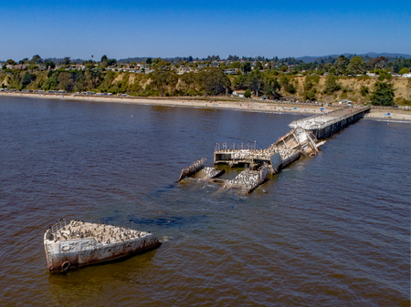 An aerial shot of the cement ship, SS Palo Alto, beached at Seacliff-Aptos. Stock fotó