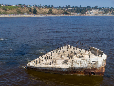 An aerial shot of the cement ship, SS Palo Alto, beached at Seacliff-Aptos. Stock Photo