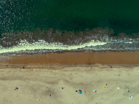 An aerial, high up view directly above the beach in Santa Cruz Stock Photo
