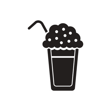instant coffee: black vector icon on white background  coffee cocktail