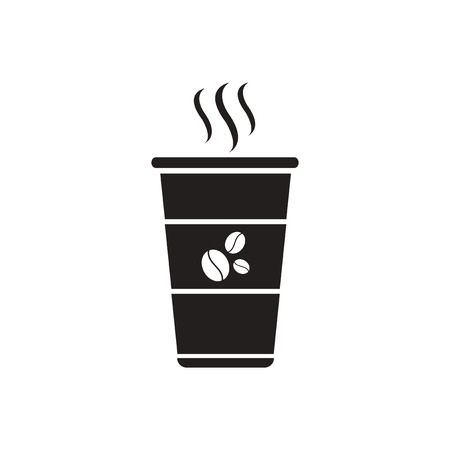 hot cup: black vector icon on white background  cup of hot coffee