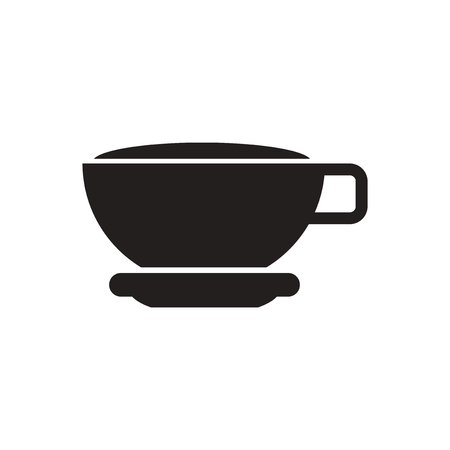 instant coffee: black vector icon on white background  cup of tea