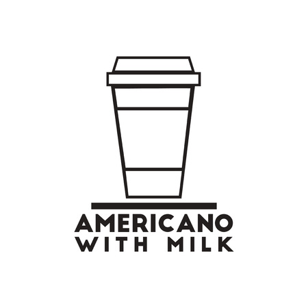 instant coffee: black vector icon on white background  americano with milk