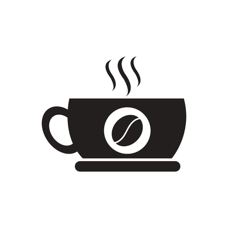instant coffee: black vector icon on white background  cup of hot coffee