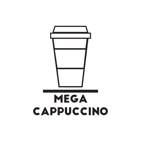instant coffee: black vector icon on white background  mega cappuccino