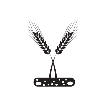 winter wheat: black vector icon on white background  ears of wheat