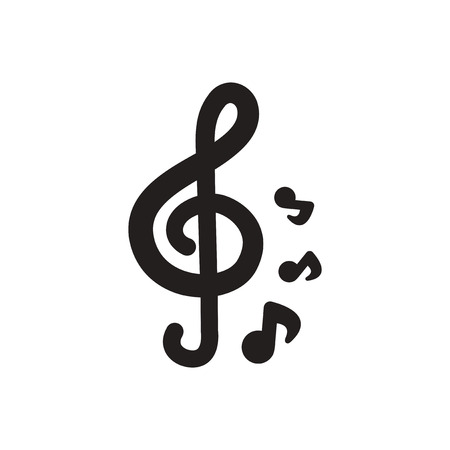 crotchets: black vector icon on white background  music note