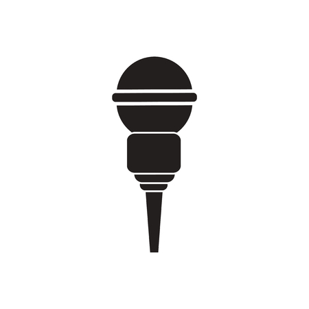 talker: black vector icon on white background  microphone in flat style Illustration