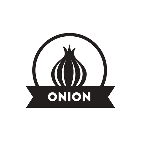 eco notice: black vector icon on white background  onion emblem