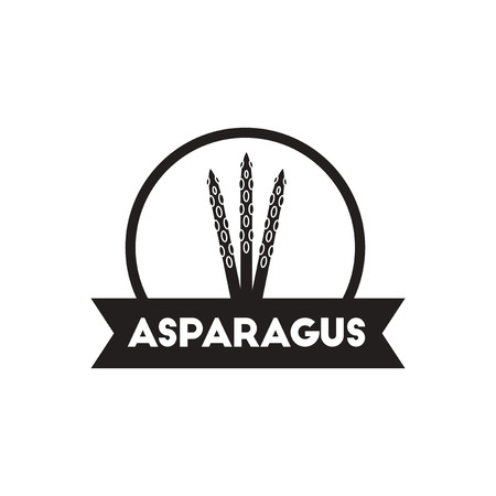 asparagus: black vector icon on white background  asparagus emblem
