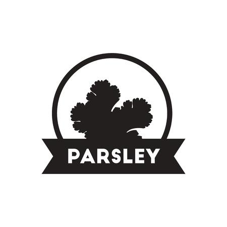 seasoning: black vector icon on white background  Kitchenware seasoning parsley