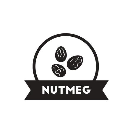 nutmeg: black vector icon on white background  Kitchenware seasoning nutmeg