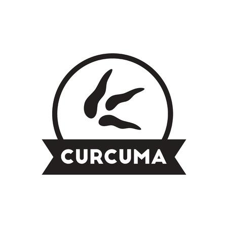 seasoning: black vector icon on white background  Kitchenware seasoning curcuma