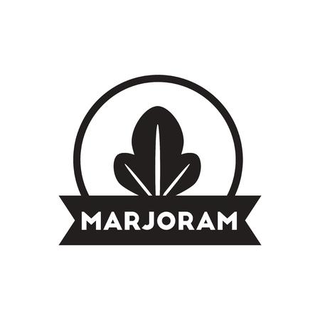 marjoram: black vector icon on white background  Kitchenware seasoning marjoram