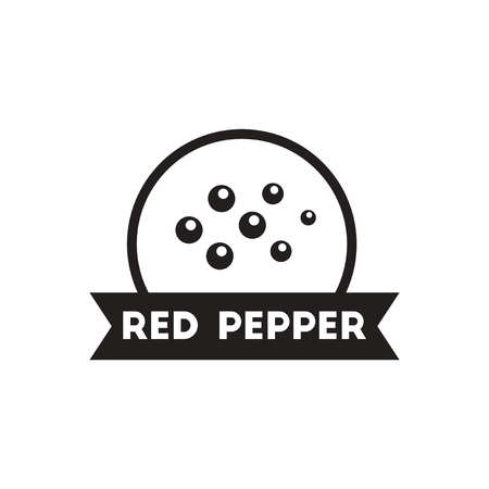 red pepper: black vector icon on white background  Kitchenware seasoning red pepper Illustration
