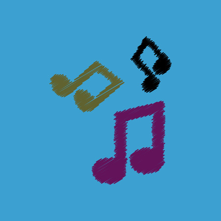 crotchet: flat vector icon design collection  music note Illustration