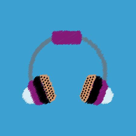 flat vector icon design collection  music headphones Illustration