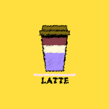 instant coffee: flat vector icon design collection  latte to go Illustration