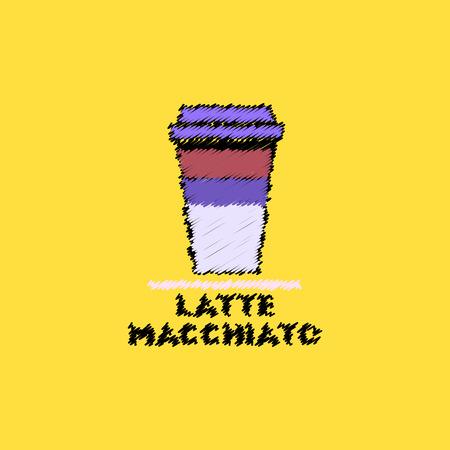 latte: flat vector icon design collection  latte macchiato to go