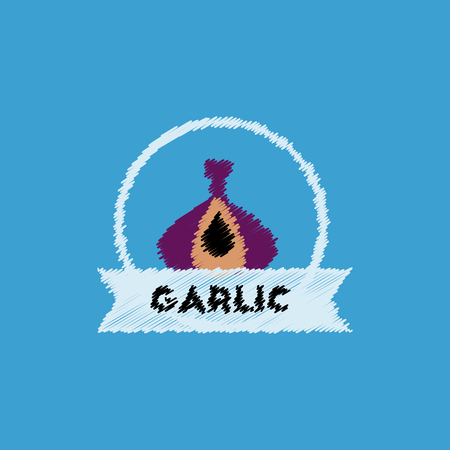 flat vector icon design collection garlic emblem