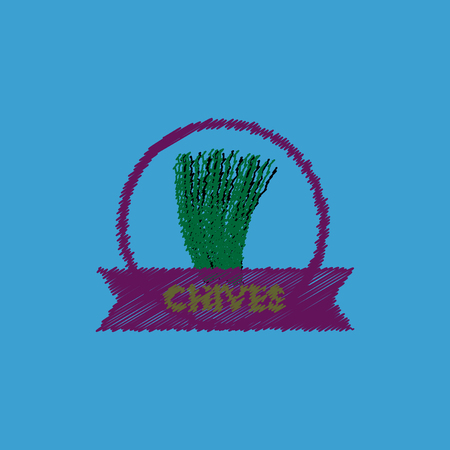 chives: flat vector icon design collection Kitchenware seasoning chives