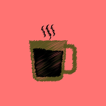 coffe break: flat icon design collection  cup of hot coffee
