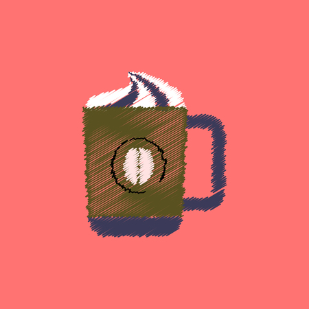 flat icon design collection  cup of cappuccino Illustration